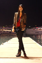 red Zara top - dark brown Zara blazer - black Forever 21 pants - black H&M bag -