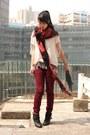 Red-hong-kong-scarf-brick-red-h-m-pants