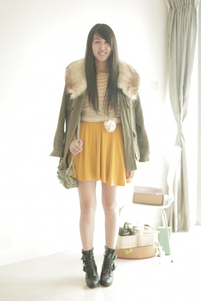 gold asos dress - dark green H&M jacket