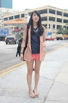 navy Uniqlo t-shirt - light pink korea blazer - black A-Land bag