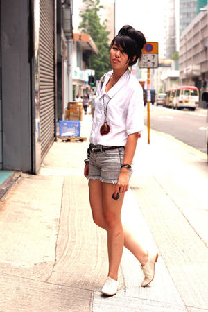 white Zara shoes - white random from Hong Kong shirt - blue cotton on shorts