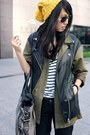 Light-orange-hong-kong-hat-dark-green-h-m-jacket-black-h-m-vest