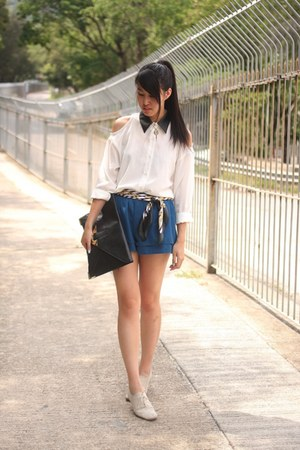 white korea shirt - black asos bag - blue korea shorts