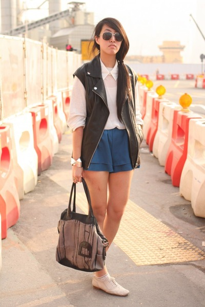 H&M vest - Diesel bag - korea shorts - korea sweatshirt