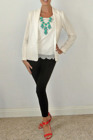 white tuxedo blazer Forever 21 blazer - white lace tank banana republic top