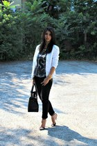 white İpekyol blazer - Zara top - black Zara sandals