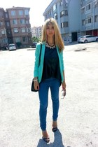 mint Pimkie jacket - Bershka leggings - carrera sunglasses - black Zara sandals