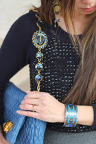 blue Miu Miu bag - navy Celine sweater - blue Hermes bracelet