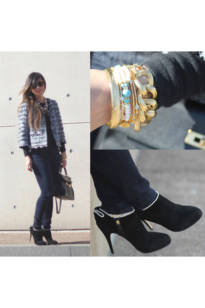 black similar Valentino boots - navy Loft jeans - black similar Chanel jacket