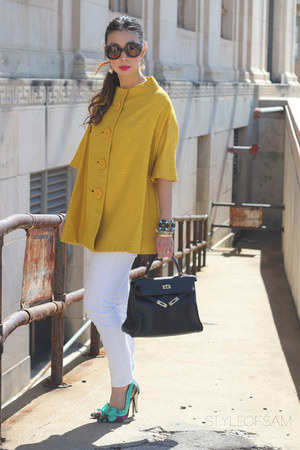 yellow similar vintage jacket - white joes jeans - brown Prada sunglasses