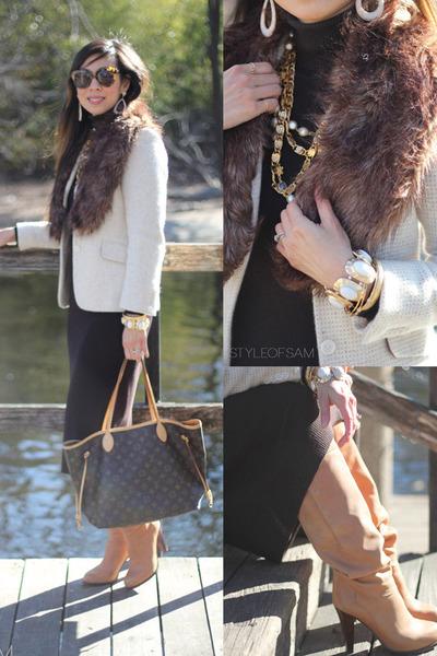 eggshell similar Prada blazer - camel See by Chloe boots