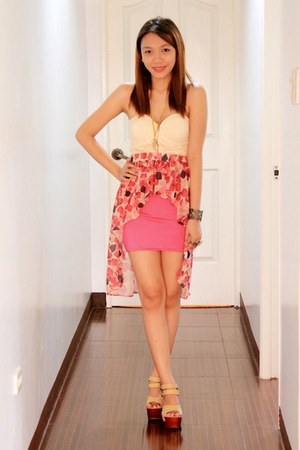 nude Enzo Shoppe shoes - hot pink Clothepedia skirt - neutral Clothepedia top