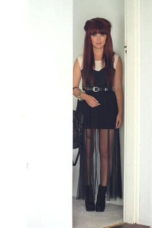 light pink Mossman dress - black new look boots - black Alexander Wang bag