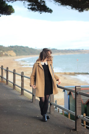 black leather Topshop boots - black Ebay dress - tan wool vintage coat