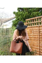 peach H&M jumper - black Primark hat - tawny Ebay bag - black Ebay skirt