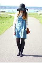 white Primark shirt - light blue pinafore Topshop dress - black Primark hat