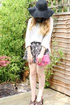 white Topshop jumper - navy H&M dress - black Primark hat