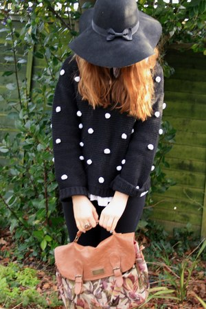 black Primark hat - white asos shirt - brown Primark bag - black Ebay jumper