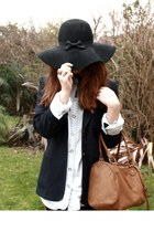 light blue next shirt - black Primark hat - navy vintage blazer - tan H&M bag
