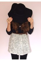 cream patterned handmade skirt - black Primark hat - black Topshop leggings