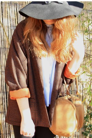 burnt orange vintage from Ebay blazer - black Primark hat - light blue DIY shirt