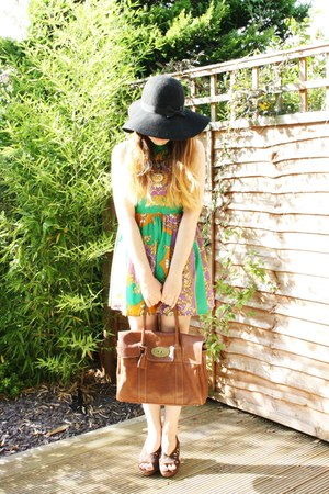 bronze Mulberry bag - chartreuse Romwecom dress - black Primark hat