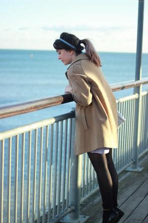 periwinkle gingham DIY dress - camel wool vintage coat - white satchel Ebay bag