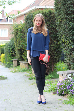 black coated Zara jeans - red Chanel bag - blue silk Zara blouse