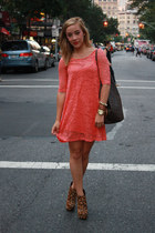 orange lace H&M dress - leopard print Bebe wedges