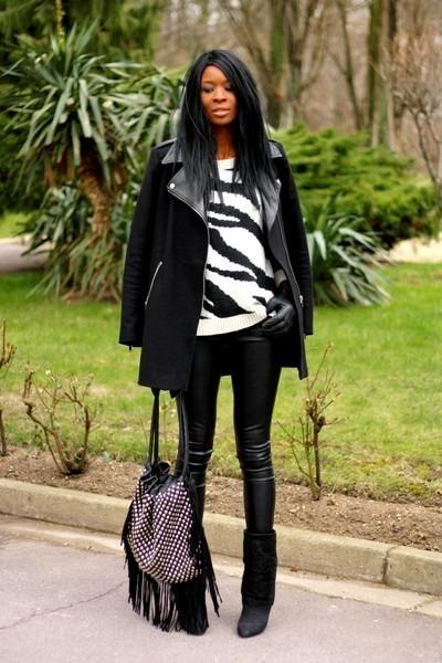 black coat - black zebra Mango jumper