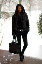 black faux fur etam coat