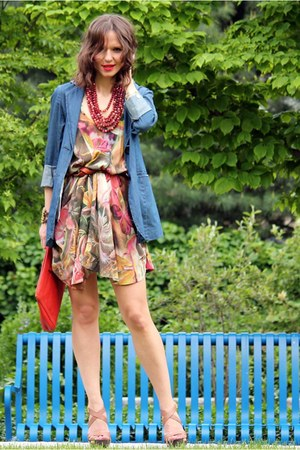 kensie blazer - All Saints dress - banana republic bag - bcbg max azria heels