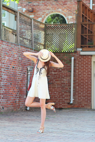free people dress - panama JCrew hat - audrey Celine sunglasses