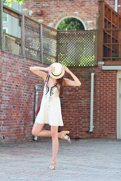 free people dress - panama JCrew hat - audrey Celine sunglasses