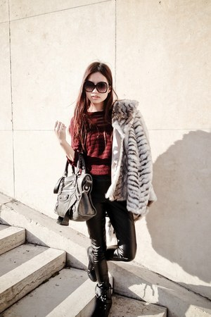 faux fur Topshop jacket - leather pants Topshop pants