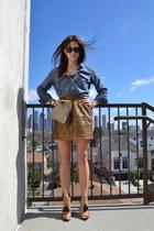 sequin J Crew skirt - Zara shoes - chambray J Crew shirt
