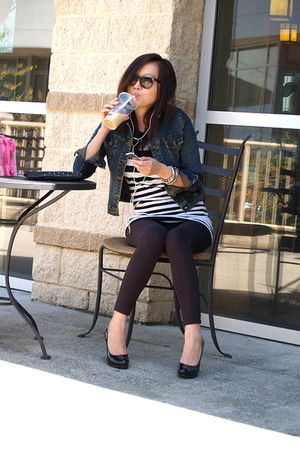 black Steve Madden shoes - H&M sweater - jacket - black leggings