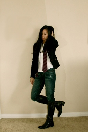 banana republic blazer - old uniform shirt - ae jeans - naturalizer boots