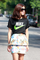 white peplum Zara skirt - black nike shirt - black See Eyewear sunglasses