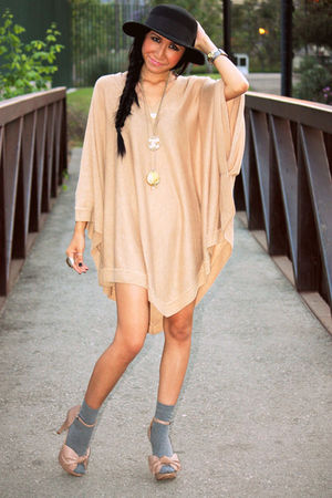 beige poncho H&M dress - beige Zara shoes - black Urban Outfitters hat