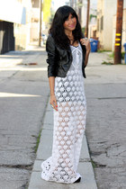 black faux leather H&M jacket - white crochet effigy dress