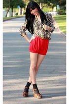 brown H&M blouse - red American Apparel shorts - brown sam edelman shoes - brown