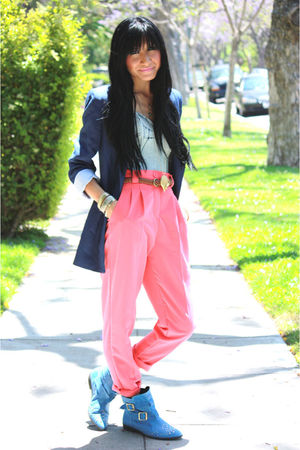 pink American Apparel pants - blue Topshop boots - blue Zara blazer