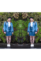 sky blue denim pinafore H&M skirt - black bowler Ebay hat