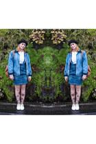 sky blue denim pinafore H&M skirt - black bowler Ebay hat