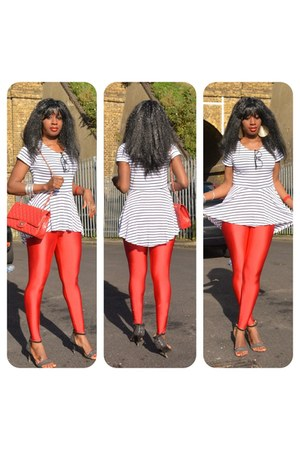 Chanel bag - striped peplum Matalan blouse - Matalan pants - Zara heels