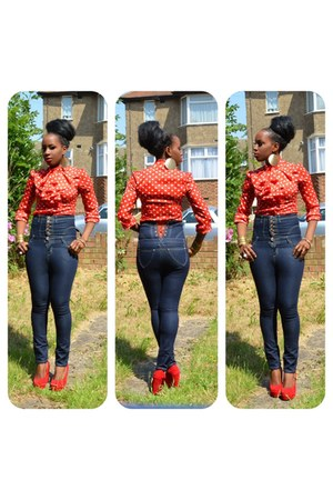 navy high waisted Ebay jeans - red new look blouse