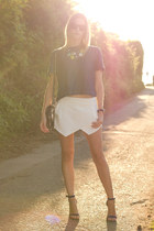 blue Guess heels - silver botkier bag - white Zara skirt - blue Zara top