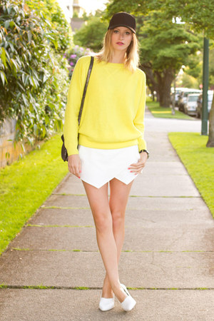 yellow Topshop sweater - black Aritzia hat - silver botkier bag