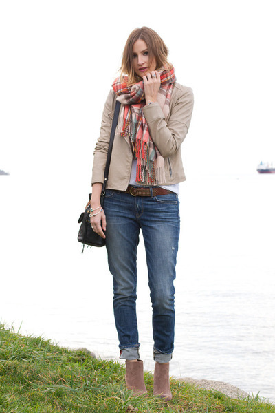 coral Topshop scarf - tan Vince Camuto boots - blue Rich & Skinny jeans
